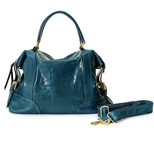 La Poet Women's Waxed Cowhide Hobo Satchel Shoulder Bag (Teal Green)