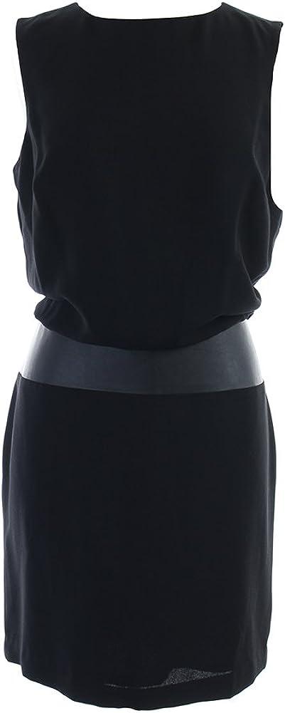 Lauren Ralph Lauren Womens Faux Leather Trim Sleeveless Cocktail Dress Black 16