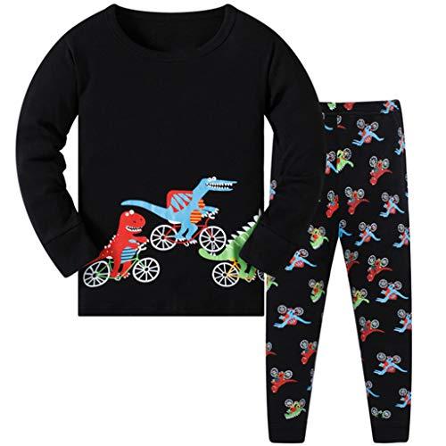 DAWILS Jungen Schlafanzug Kinder Dinosaurier Lang Zweiteiliger Schlafanzug Langarm Shirt und Pyjamahose 122
