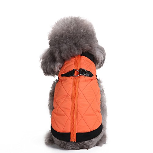 SELMAI Warmer Hundemantel, wasserdicht, für kleine Hunde und Katzen, wattiert, Hundegeschirr integriert, weich, Kälteschutz, mit Reißverschluss, Hundebekleidung