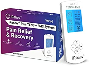 FDA Cleared iReliev TENS Unit + EMS 14 Therapy Modes, Premium Pain Relief and Recovery System, Rechargeable, Large Back Lit Display, Large and Small Electrode Pads