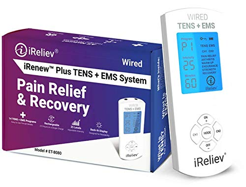 TENS Unit + EMS Muscle Stimulator by iReliev: Comes with 14 Therapy Modes, Premium Pain Relief...