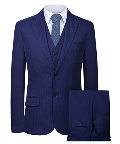 Cloudstyle Mens Suit Solid Color Formal Business Two Button 3-Piece Suit Wedding Slim Fit (Large, Blue)