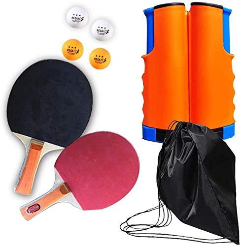 RJJBYY - Juego de ping-pong para interior y exterior, 4 bolas extensibles, 2 murciélagos, red de tenis de mesa para niños y adultos