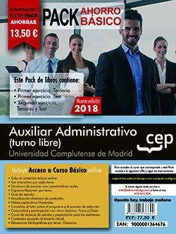 PACK AHORRO BASICO.  Auxiliar Administrativo (turno libre). Universidad Complutense de Madrid. (Incluye Temario y Test primer ejercicio, Temario y Test segundo ejercicio)