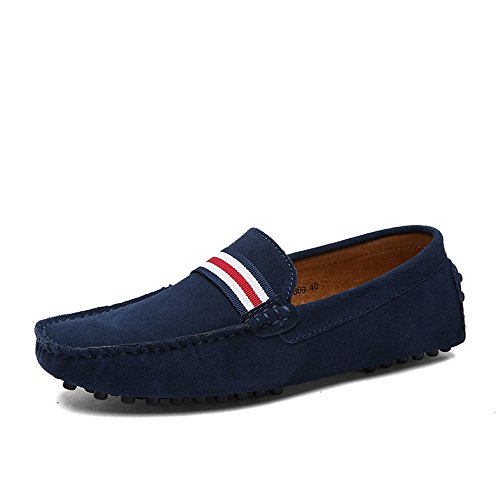 DUORO Herren Klassische Weiche Mokassin Echtes Leder Schuhe Loafers Wohnungen Fahren Halbschuhe (38,Dunkelblau 2)