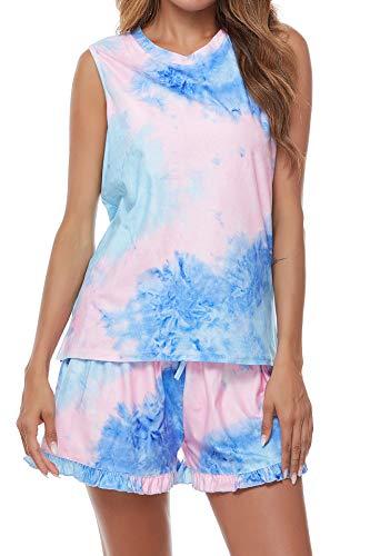 VILOVE Women Tie Dye Pajamas Sets Sleeveless Sleepwear Tank Top Ruffle Shorts Nightwear Loungewear Pink-Blue XX-Large