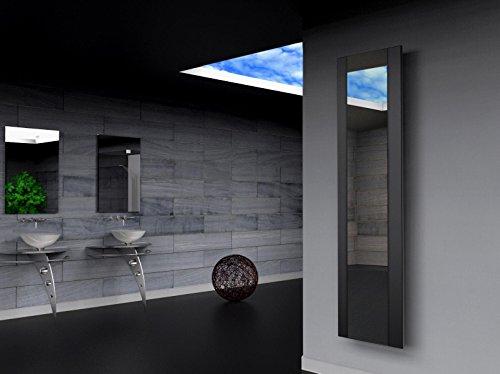 Badheizkörper Design Singapur 3, HxB: 180 x 47 cm, 1118 Watt, schwarz/Spiegel (Marke: Szagato) Made in Germany/Bad und Wohnraum-Heizkörper (Mittelanschluss Spiegelglas, Echtglas)