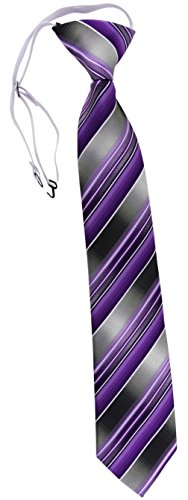 TigerTie Security Sicherheits Krawatte in lila flieder anthrazit silber grau gestreift - vorgebunden mit Gummizug