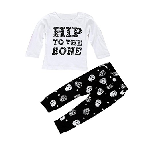 kingko® 1Réglez Infant Toddler bébé Garçons Lettre Imprimer manches longues T-shirt Tops + Pantalons Tenues Vêtements (24M)