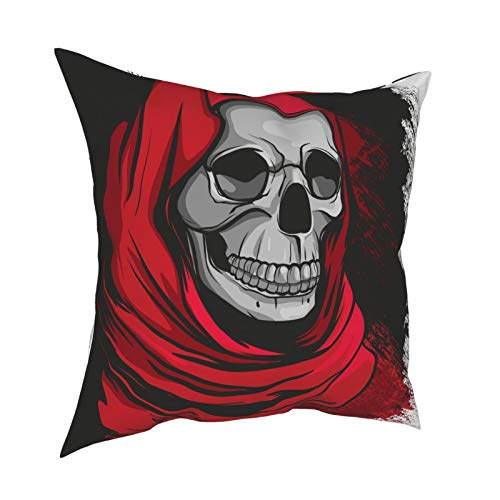 20x20 Throw Pillow Covers Set of 4 Grim Reaper in Red Robe Skull Decorative Couch Pillow Cases Cushion Cover Sofa Soft Standard Zippered Square Cute Pillowcase for Kids Women Men