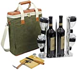 wine and cheese accessories - HappyPicnic Wax Canvas 3 Bottle Wine Carrier, EVA Molded Beverage Cooler Bag for Travel, Champagne Drink Carrying Tote with 4 Glasses, Wine Opener & Stopper, Bamboo Cheese Board and Knife Set as Gift