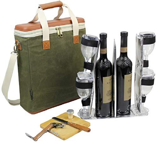 EVA Gegoten 3 Fles Wax Canvas Wijnkoeler Tas/Geïsoleerde Wijndrager voor Reizen/Champagne Draagtas/Wijn & Kaas Set met 4 Glazen, Wijnopener & Stopper, Bamboe Kaasbord en Mes