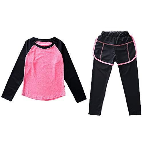 Echinodon Mädchen Sport-Set 2tlg Schnelltrockend Langarmhirt + Hose mit Shorts Anzug für Jogging Training Yoga Rot 160
