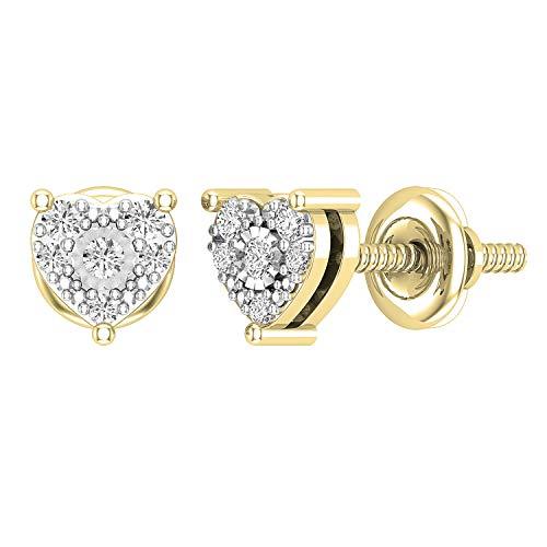 Dazzlingrock Collection Pendientes de tuerca de diamante redondo cultivado en laboratorio, de 0,15 quilates, con forma de corazón, disponibles en metal de oro de 10 K, 14 K, 18 K y plata de ley 925.