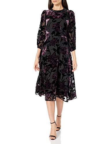 Eliza J Women's Short Balloon Sleeve Burnout Dress Casual, Black, 16