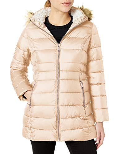 HFX Damen 3/4 Puffer with Faux Fur Hood and Cinched Sides Daunenalternative, Mantel, rosa-Dusty pink, X-Large