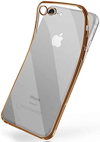 moex Transparente Silikonhülle im Chrome-Style kompatibel mit iPhone 7 / iPhone 8   Flexibler Schutz mit Hochglanz Metallic Rahmen, Gold
