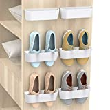 Yocice Wall Mounted Shoes Rack 6Pack with Sticky Hanging Strips, Plastic Shoes Holder Storage Organizer,Door Shoe Hangers (SM03-White-6)