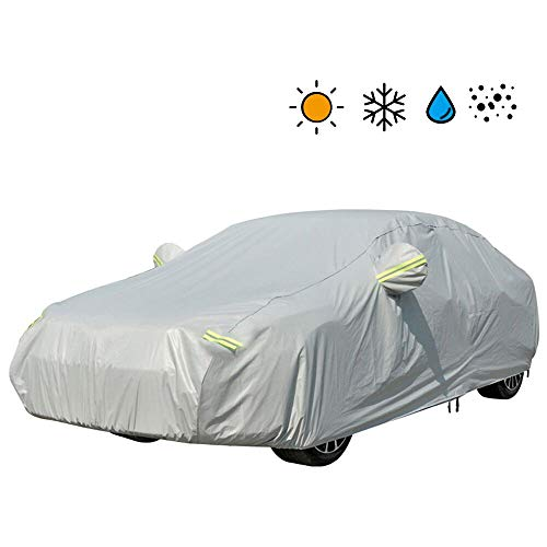 VISLONE Autoabdeckung Fortgeschritten Materialschichten Autoplanen Outdoor Indoor UV-Schutz wasserdichte SchmutzAuto Vollgarage für Auto Winter und Sommer (M)