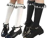 [インソミラ] InSomila キッズ ハイソックス ガールズ 靴下 2足セット レース フォーマル 入学式 卒業式 冠婚葬祭 可愛い 女の子 黒 白