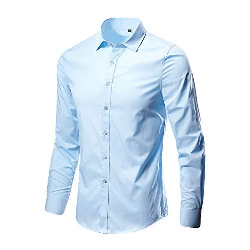 iYmitz Men's Long Sleeve Plain Poplin Casual Shirt Cotton Blend Shirt Bamboo Dress Shirt Slim Fit Long Sleeve Elastic Formal Shirt Casual Solid Button Down Shirts for Men, 15 Colors