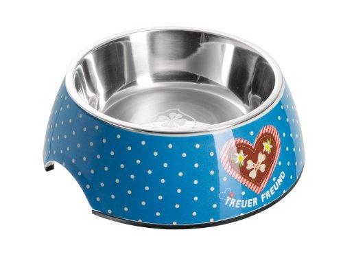 HUNTER ADELHEID Treuer Freund Melamin-Napf, Futternapf, Trinknapf, für Hunde und Katzen, mit Edelstahlnapf, 160 ml, blau