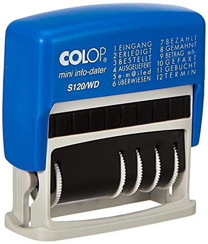 COLOP Datumstempel mit Wortband S 120/WD inkl. 12 Bürotexten, Kissen blau/rot, im Faltkarton