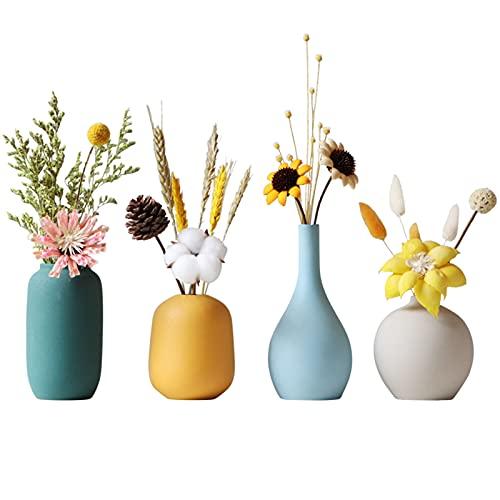 TDHLW Juego de 4 jarrones de cerámica pequeños para decoración moderna, floreros decorativos modernos adecuados para la habitación, oficina, sala de estar, blanco, azul