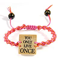 Style ARThouse You Only Live Once、リバーシブルマクラメブレスレット コーラルピンクコード付き