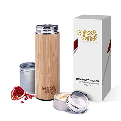 NextOne Bamboo Tumbler with Detachable Leaf Tea Infuser & Strainer | 16oz Premium Double-Walled Stainless-Steel Tea Bottle | 100% Organic Nature | Vacuum Sealed