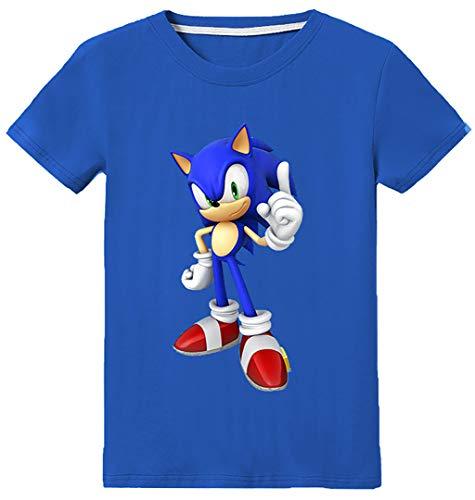 Silver Basic Camiseta Deportiva para Niños Inspirada en la Película Sonic The Hedgehog con Estampados Gráficos de Sonic Sonic Cosplay Sonic tee para Niños 100,Azul Disfraz De Sonic-3