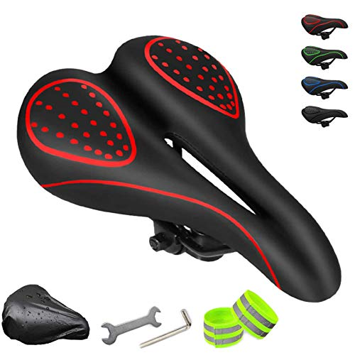 FINGER TEN Bicycle Seats for Comfort Men Women Gel Saddle Padding Ergonomics Design with Free Rain Cover and Reflective Band (Red)