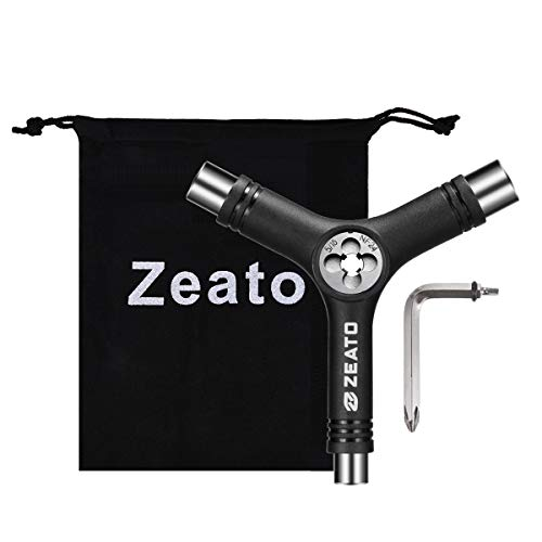 Zeato All-in-One Skate Tools Multi-Function Portable Skateboard Y Tool Accessory with Y-Type Allen Key and L-Type Phillips Head Wrench Screwdriver - Black
