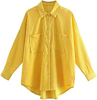 Women Oversized Corduroy Shirts Vintage Long Sleeve Loose Female Blouses Tops (Color : Yellow, Size : Small)