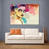 ganlanshu Pintura sin Marco Arte Moderno Lienzo decoración póster Hermosa niña Pintura Abstracta Acuarela Sala Arte de la paredZGQ5218 40X60cm