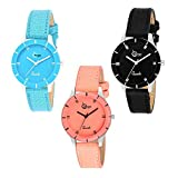 Shunya Analogue Girl's Watch (Multicoloured Dial Assorted Colored Strap) (Pack of 3)