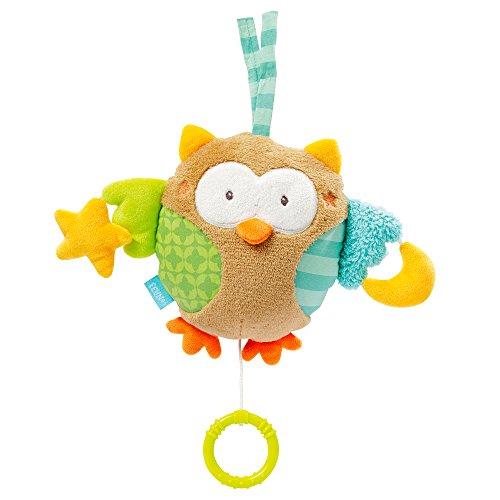 Fehn 071047 Spieluhr Eule / Aufzieh-Spieluhr mit zwei Gesichtern zum Aufhängen, Kuscheln und Greifen, für Babys und Kleinkinder ab 0+ Monaten