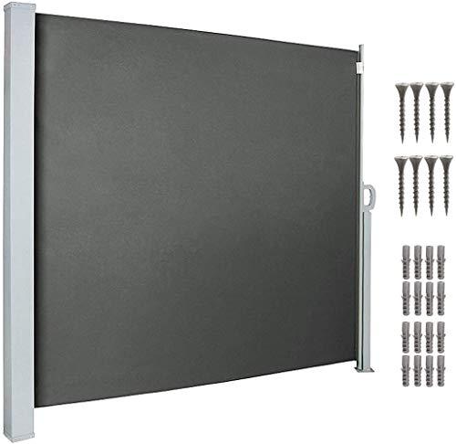 uyoyous 160 x 300 cm Seitenmarkise Alu ausziehbar für Balkon und Terrasse, Sichtschutz, Sonnenschutz, Windschutz, Seitenrollo Automatisches Zurückspulen Seitenrollo Seitenmarkise