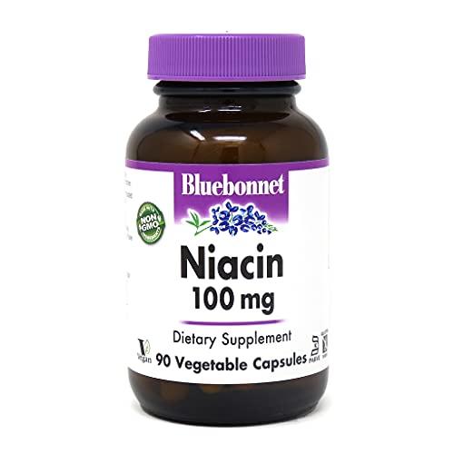 BlueBonnet Niacin 100 mg Vegetable Capsules, 90 Count ('743715004597)