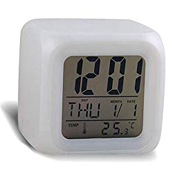 BOLLAER Child Game Alarm Clock 7 Colors LED Night Light, More Styles to Choose from, Kids Digital Alarm Clock with Snooze Function, Best Gift for Children Birthday, Christmas or Game Lovers