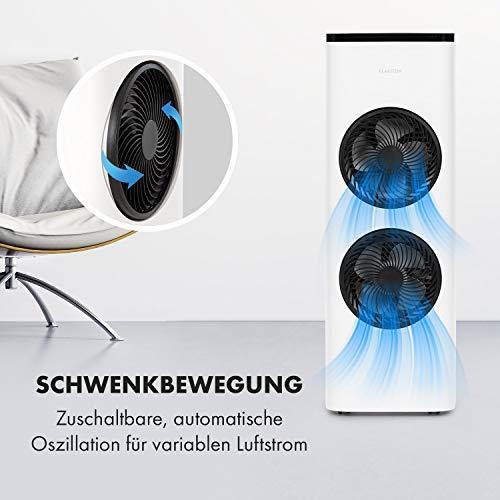 Klarstein Windsurfer 3-in-1 Luftkühler, Ventilation, Luftkühlung, Luftbefeuchtung, 80 Watt Leistung, 3 Windgeschwindigkeiten, 3 Windarten: Normal-, Natur- und Schlafmodus, zuschaltbare, weiß