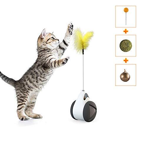 Dozod 猫 おもちゃ 自動回転猫おもちゃ 羽毛とボール付き 猫 一人 遊び おもちゃ人気ランキング 日常の運動 ストレス解消 安全で無毒
