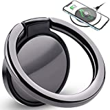 Attom Tech Phone Ring Holder Wireless Charging Compatible Ceramic, 360° Rotation Anti-Scratch Finger Ring Grip Ultra-Thin Compatible with All Wireless Charging Cell Phones Smartphone (Black)