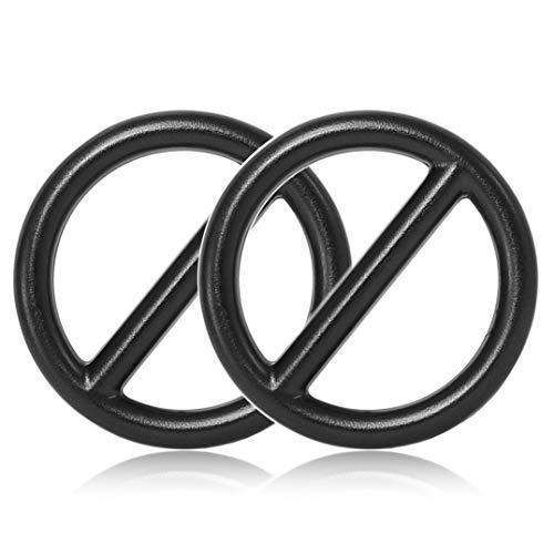 Ganzoo O - Ring mit Steg aus Stahl, 2er Set, DIY Hunde-Leine/Hunde-Halsband, nichtrostend, Steg-Ring ideal mit Paracord 550, geschweißt, Farbe: schwarz