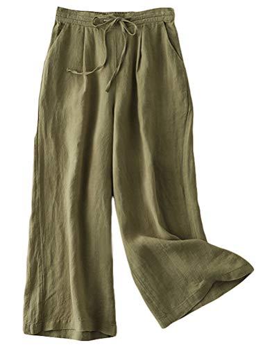 FTCayanz Damen Leinen Culottes Hose Leichte Weitem Bein Sommerhose mit Kordelzug Armeegrün XL