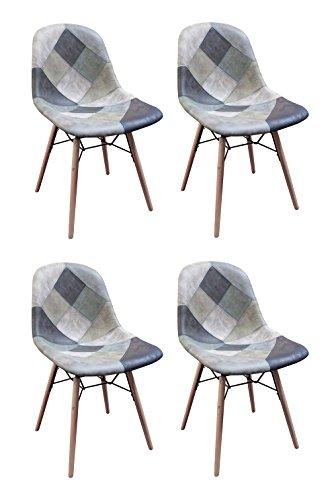 Meubletmoi - Sillas Patchwork azul escandinavo vintage – Suave estilo Suedina – Patas de madera – Tendencia industrial contemporánea – Juego de 4 – Summer Blue