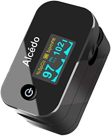 Alcedo Pulsioxímetro de dedo | Nivel de saturación de oxígeno en sangre (SpO2) y monitor de frecuencia cardíaca | Pantalla OLED de dos colores | Estuche portátil, cordón, baterías