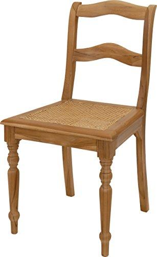 korb.outlet Eleganter Jugendstil-Stuhl aus Teak mit Sitzfläche aus Wiener Geflecht DE