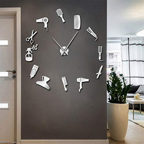 Shuangklei 37 Pulgadas Peluquería Herramientas para El Cabello De Gran Tamaño DIY Reloj De Pared Sin Pelo Salón De Belleza Big Time Clock Moda Peluquería
